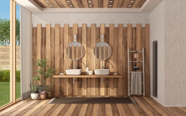 Banheiro moderno de madeira com lavatório duplo