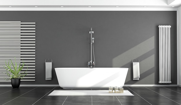 Banheiro moderno preto e branco