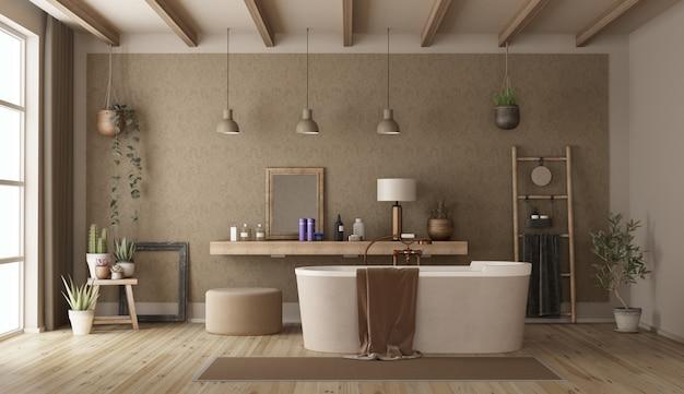 Banheiro retrô com banheira moderna