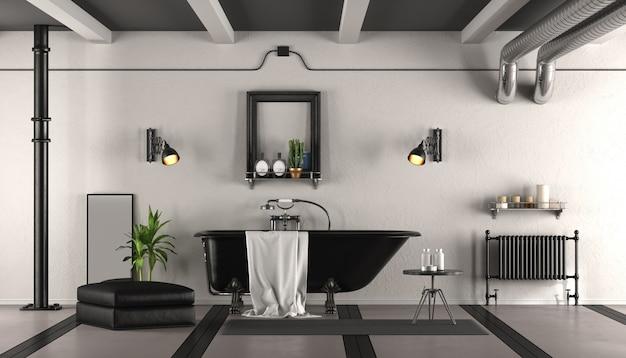 Banheiro retrô preto e branco