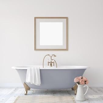 Banheiro romântico. maquete do interior e do quadro. renderização 3d.