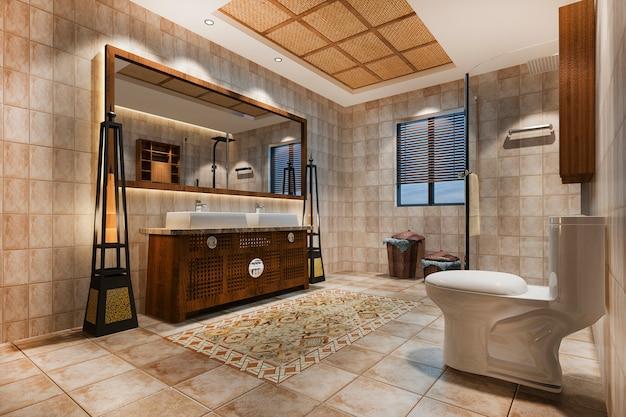Banheiro vintage com decoração de azulejos tropicais de luxo