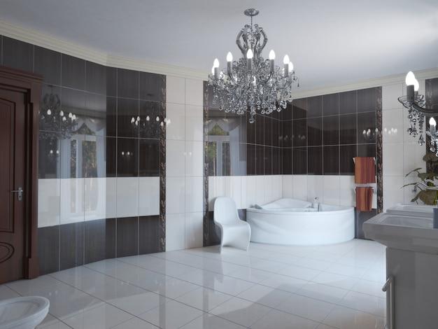 Banheiro, visualização de interiores, ilustração 3d