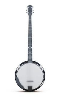 Banjo isolado verticalmente em um fundo branco. renderização 3d.