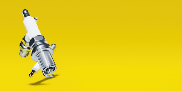 Banner amarelo com velas de ignição de um lado