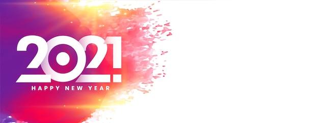 Banner colorido de feliz ano novo de 2021