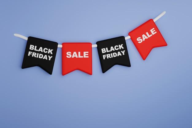 Banner com bandeiras pretas e vermelhas com as frases black friday sale 3d render