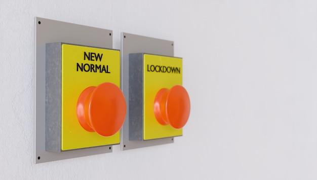 Banner com botão para o novo normal em foco e o botão de bloqueio fora de foco. renderização 3d