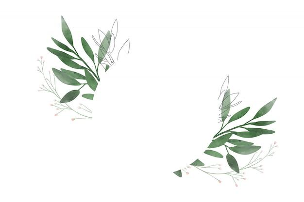 Banner com folhas em aquarela. design para casamento e cartão de felicitações.
