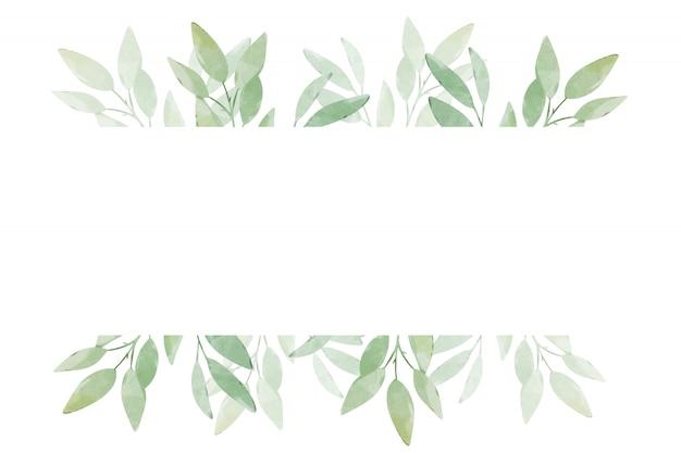 Banner com folhas verdes em um fundo branco. design de modelo de cartão de saudação.