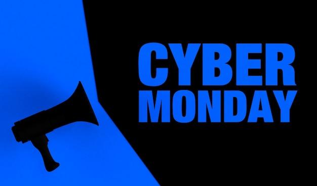 Banner com megafone e o texto fundo cibernético de segunda-feira