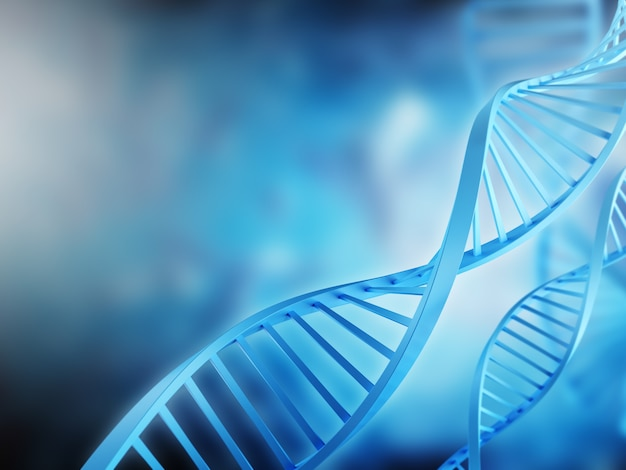 Banner com modelo 3d da molécula de dna em fundo azul e fundo neutro para fins médicos