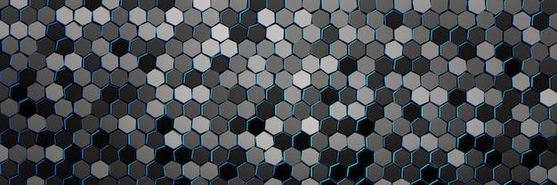 Banner com padrão de muitos hexágonos de repetição com bordas azuis.