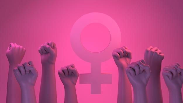 Banner com punhos femininos em sinal de luta e símbolo feminino ilustração 3d