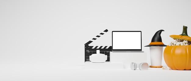 Banner da web no tema da noite de cinema de halloween, laptop vr, óculos, decoração de halloween, coisas, renderização em 3d