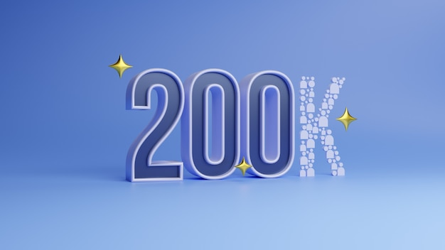 Banner de agradecimento nas mídias sociais com 200 mil seguidores assinantes