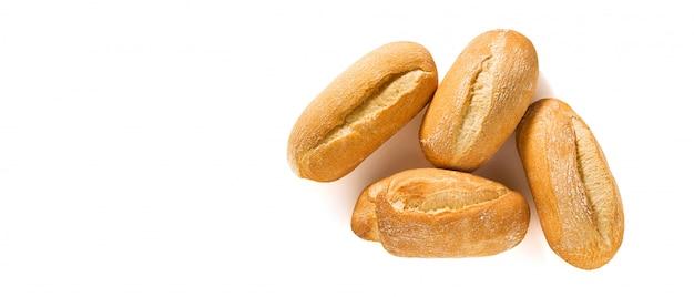 Banner de baguete de pão branco fresco e pão isolado no branco com sementes