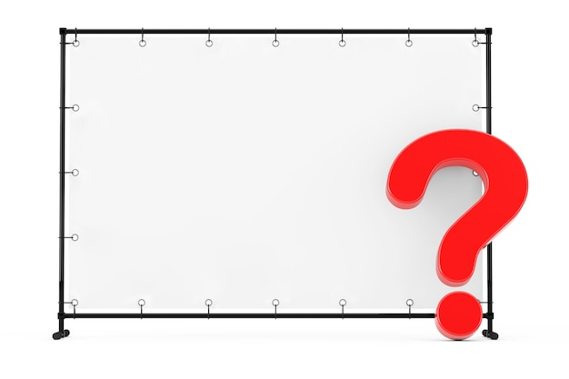 Banner de bandeira em branco com ponto de interrogação vermelho sobre um fundo branco. renderização 3d