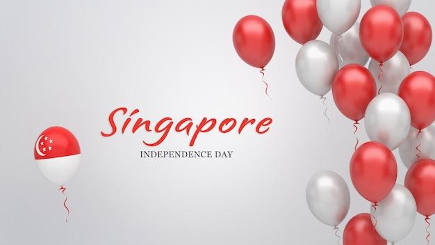 Banner de celebração com balões nas cores da bandeira de cingapura.