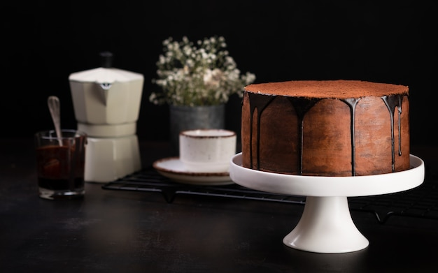 Banner de chocolate e bolo de café