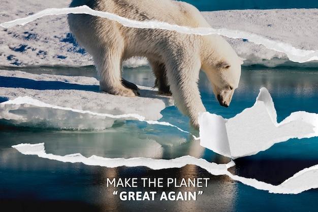 Banner de conscientização sobre o aquecimento global com fundo rasgado de urso polar