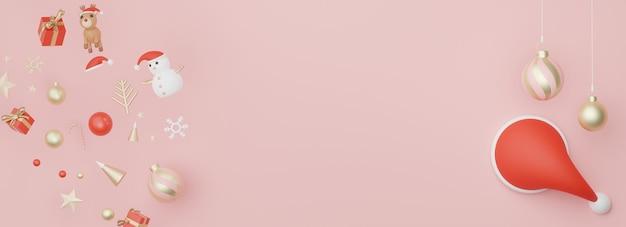 Banner de exibição da web em 3d para apresentação de produtos com conceito de natal e feliz ano novo