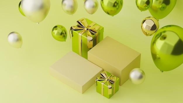 Banner de exibição de produto on-line cartaz de compras on-line em verde com caixas de presente e balões de pódio