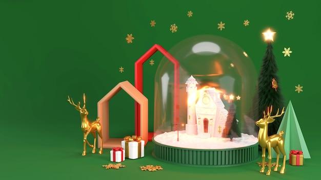 Banner de feliz ano novo e feliz natal. bola de neve de natal com árvores e casa. renderização 3d realista de globo de neve de vidro.