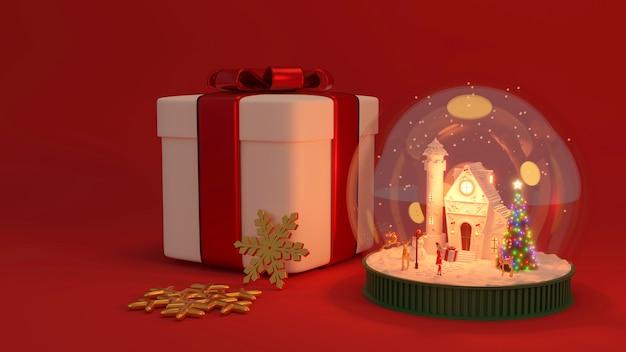 Banner de feliz ano novo e feliz natal. design 3d realista de globo de neve de vidro. objeto festivo de natal. renderização 3d.