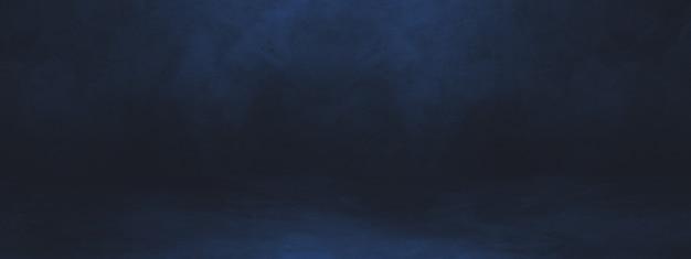 Banner de fundo interior de concreto preto e azul.