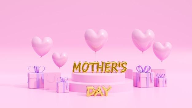 Banner de fundo rosa de venda de dia das mães, usado como panfletos, convite, cartazes, brochura. copie o espaço. ilustração 3d