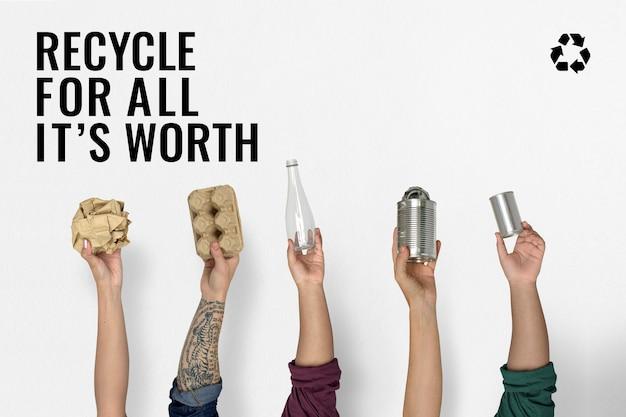 Banner de gerenciamento de resíduos e reciclagem