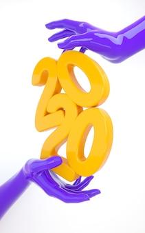 Banner de gravata vertical de celebração de ano novo de 2020 em estilo moderno criativo