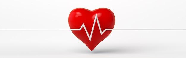 Banner de ilustração 3d do ícone de frequência cardíaca