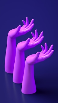 Banner de ilustração de renderização 3d com as mãos Foto Premium
