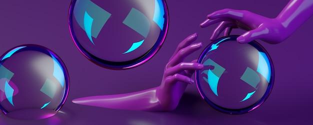 Banner de ilustração de renderização 3d com mãos segurando um círculo no estúdio roxo