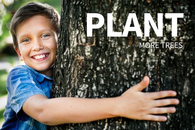 Banner de meio ambiente com citação de planta mais árvores