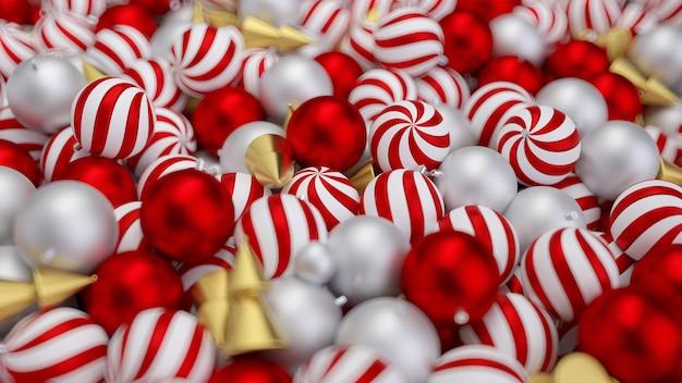 Banner de natal com bolas de árvore de natal realistas na cor ouro. fundo vermelho bonito para banners de ano novo. cartaz de natal, cartões, cabeçalhos, site. 3d render