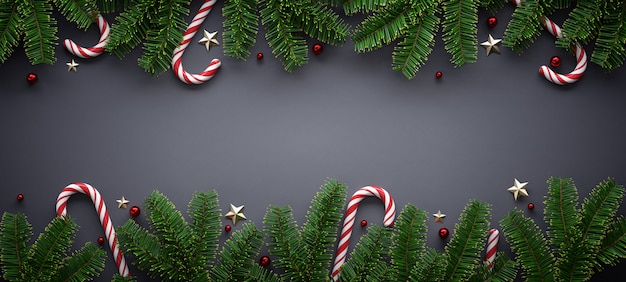 Banner de natal com enfeites sazonais