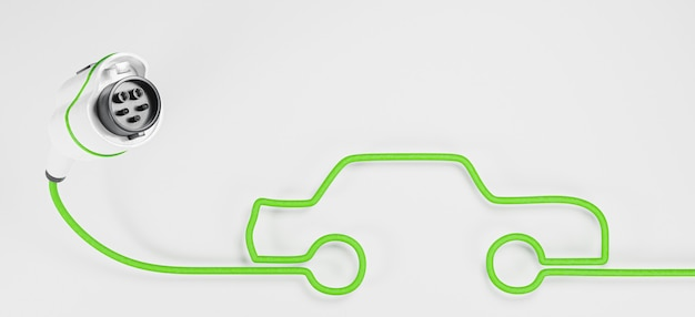 Banner de plugue de carro elétrico na superfície branca com cabo fazendo a forma de um carro Foto Premium