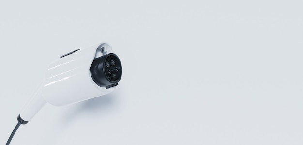 Banner de plugue de carro elétrico na superfície branca Foto Premium