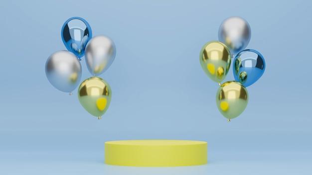 Banner de pódio para exposição de produtos com balões coloridos com pódio verde e fundo azul
