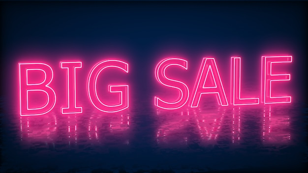 Banner de sinal de néon de venda para promo. conceito de venda e liberação. ilustração.