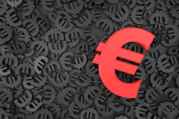Banner de sinal do euro em renderização 3d