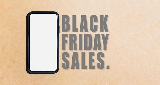 Banner de smartphone perto do texto da venda de sexta-feira negra