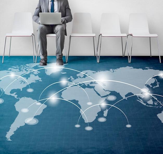 Banner de sobreposição de gráfico de conexão de rede no chão