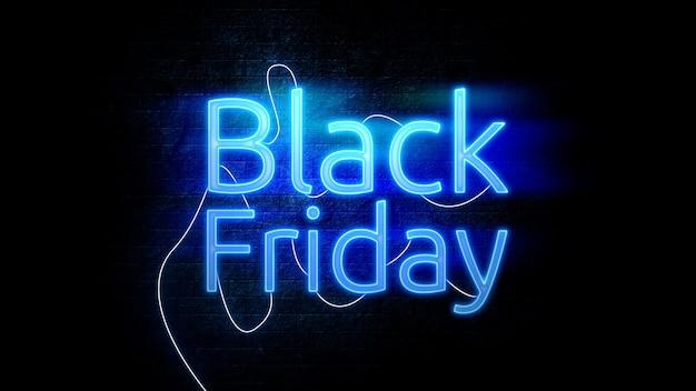 Banner de venda da black friday com efeito de texto em néon