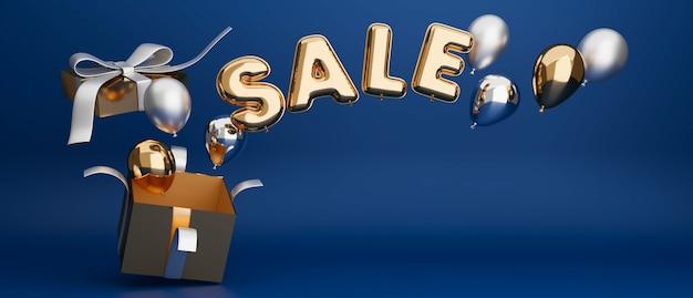 Banner de venda de conceito de luxo com caixa de presente de espaço de cópia e balões em fundo azul