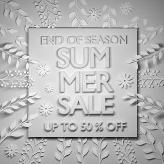 Banner de venda de verão em cinza monocromático.
