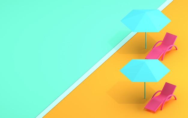 Banner de verão com uma espreguiçadeira e um guarda-chuva em tons pastel, abstraem a imagem do verão